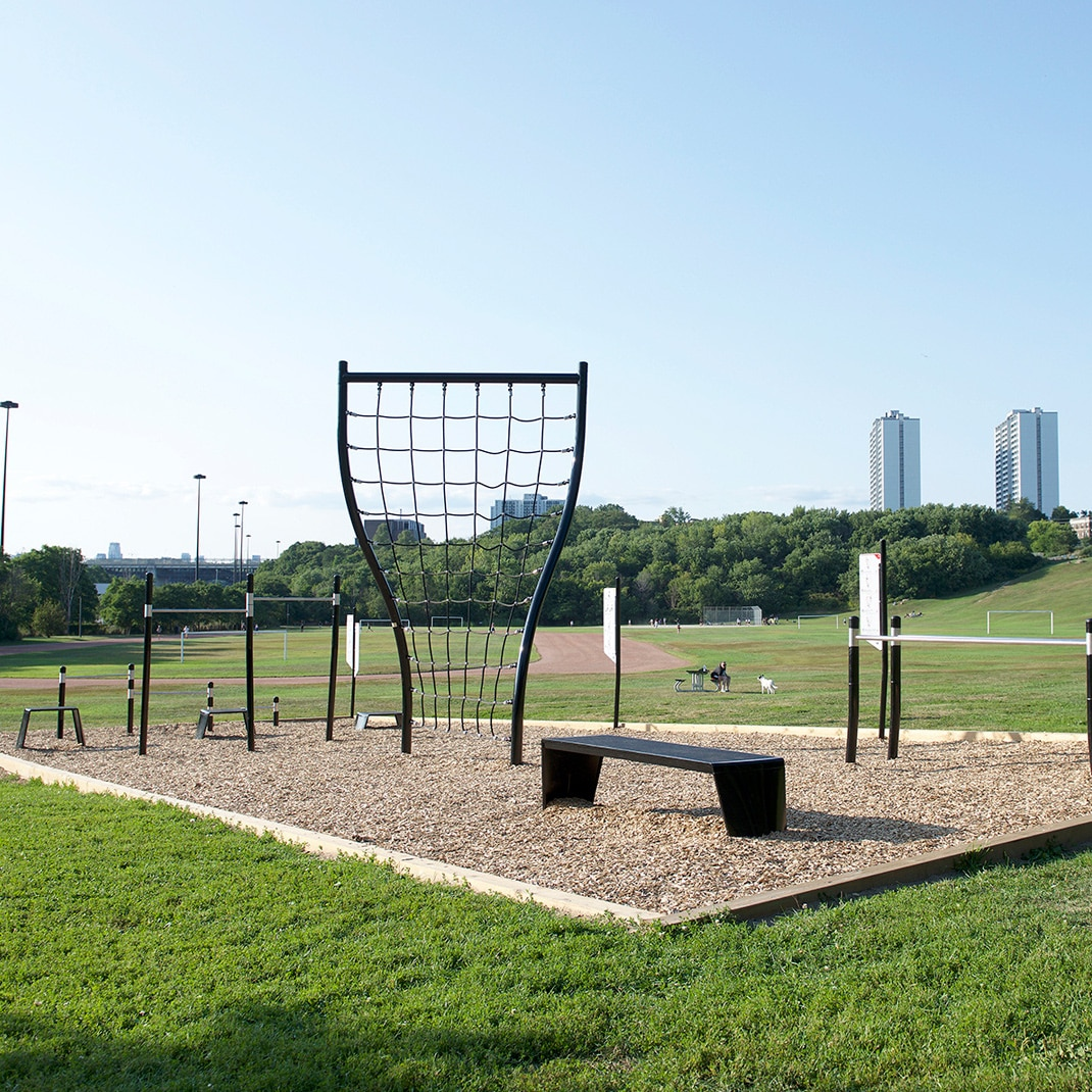Outdoor fitness circuit stations.