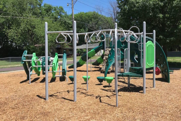 Playground with modern monkey bar rings.