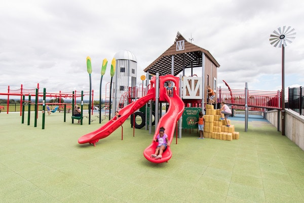 Children sliding down a double red slide.